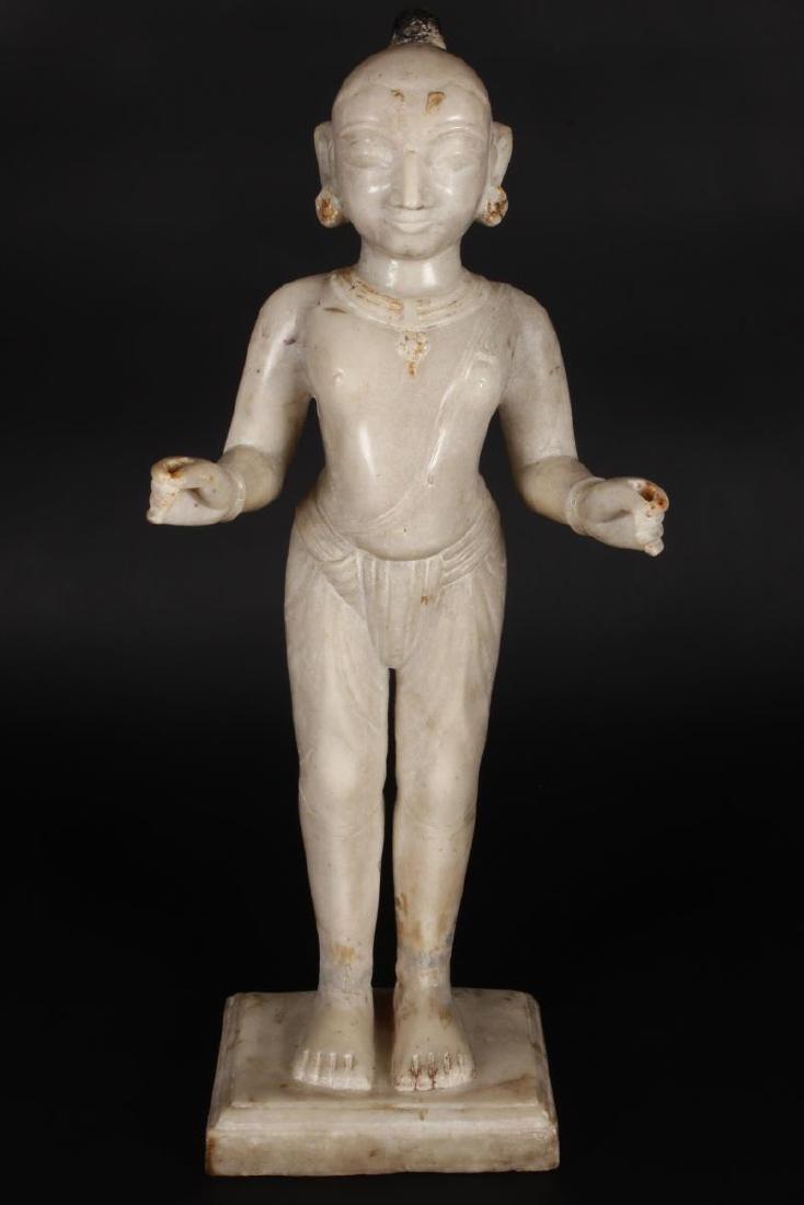 Large Jain Carved Marble Figure of Tirthankara,