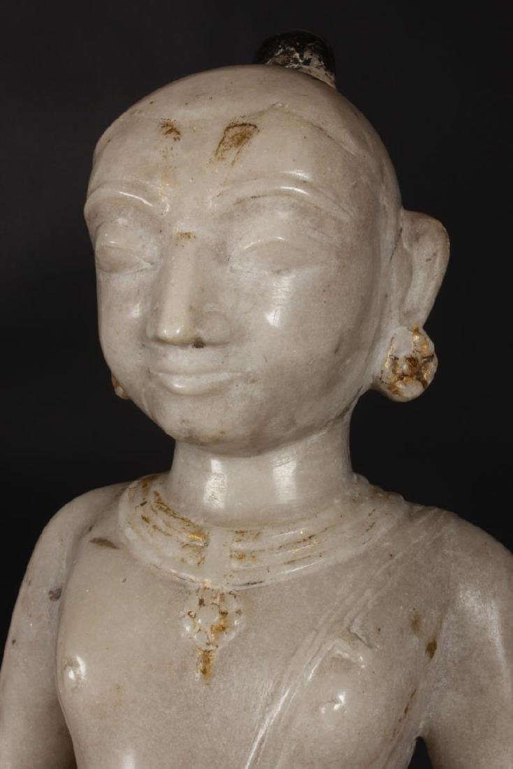 Large Jain Carved Marble Figure of Tirthankara, - 4