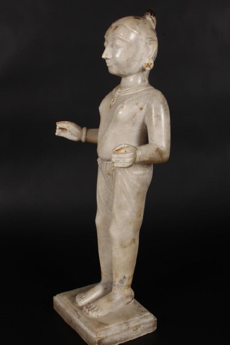 Large Jain Carved Marble Figure of Tirthankara, - 5
