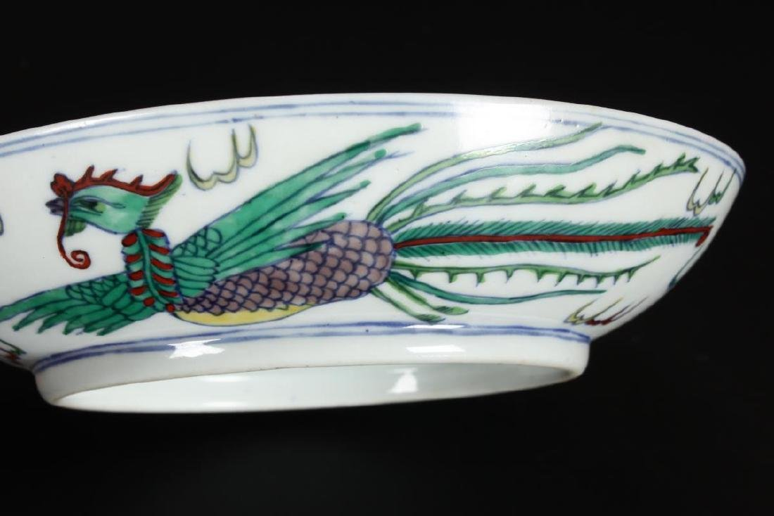 Chinese Famille Vert Porcelain Dish, - 5