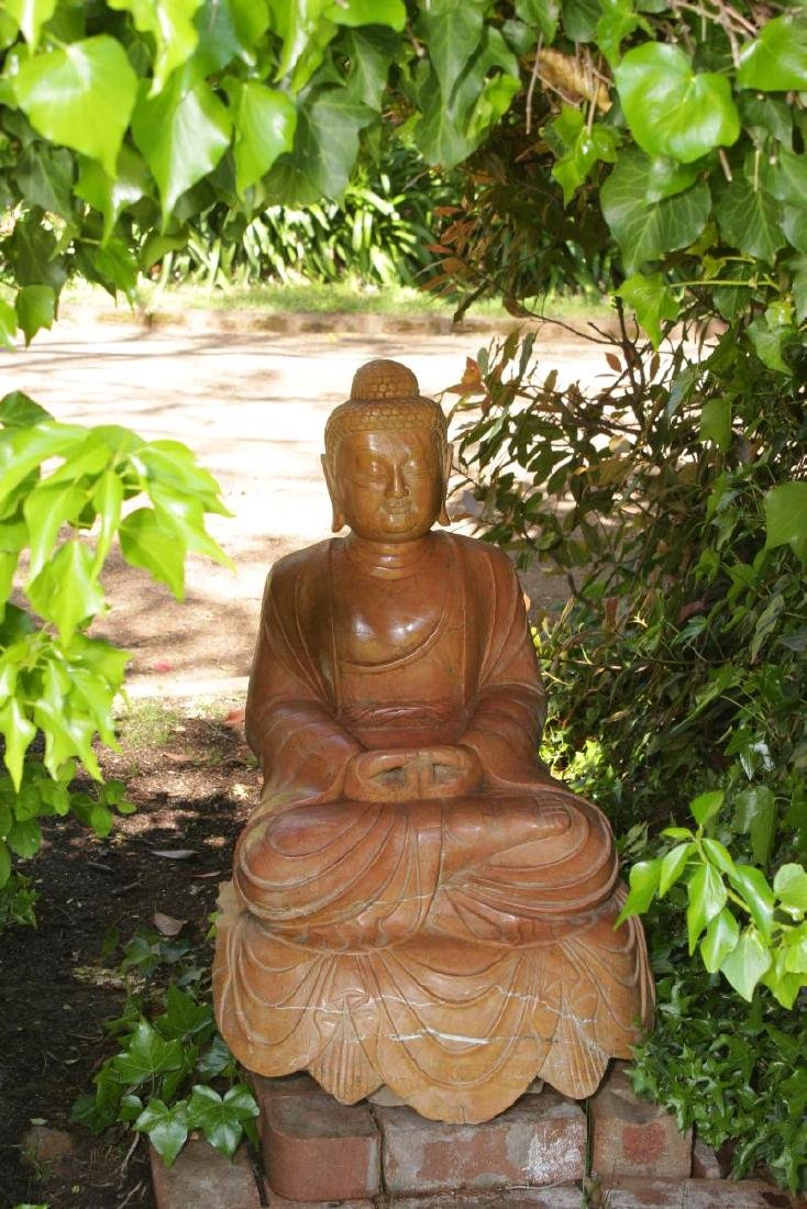 Lovely and Large Chinese Marble Seated Buddha, - 2