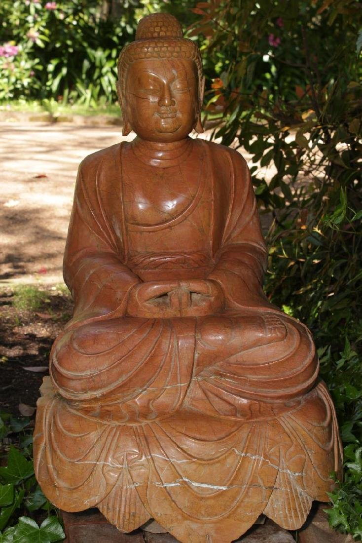 Lovely and Large Chinese Marble Seated Buddha, - 3