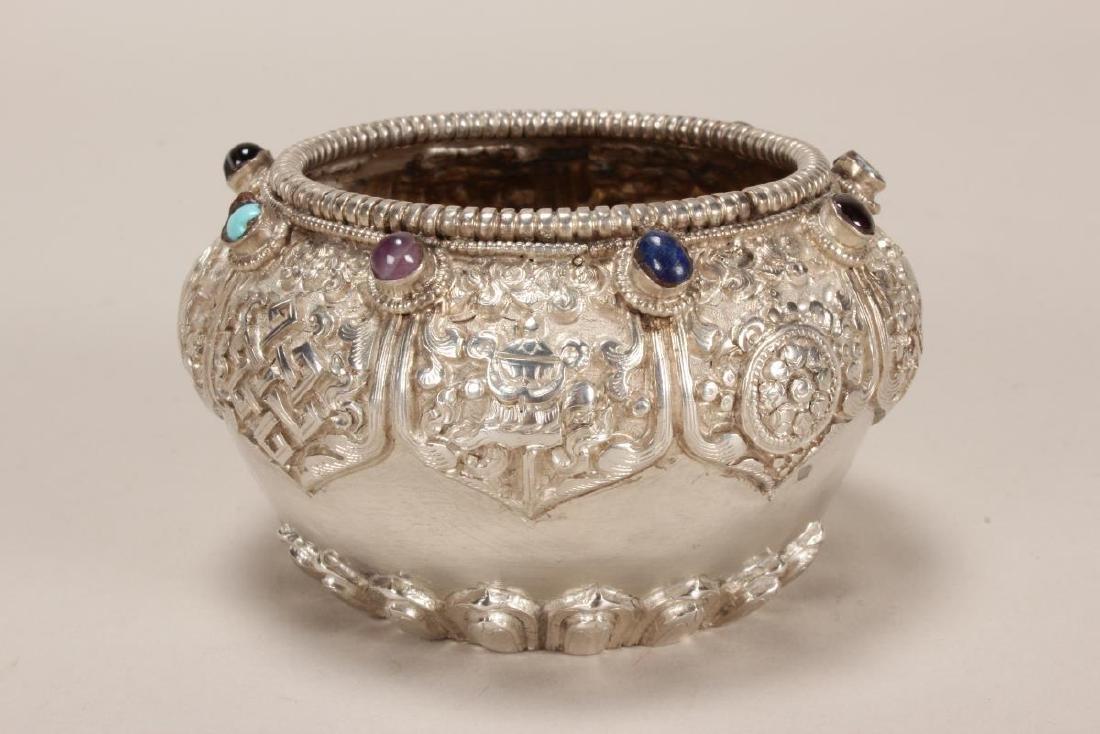 Tibetan Silvered Bowl, - 2