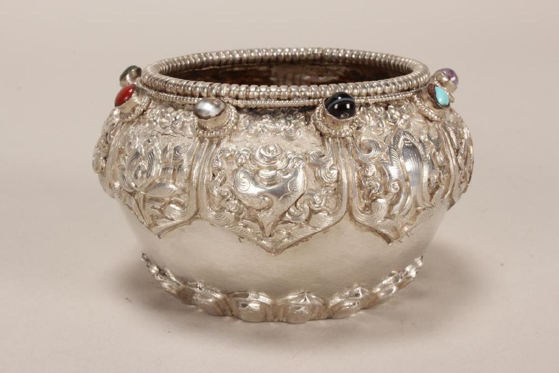 Tibetan Silvered Bowl, - 3