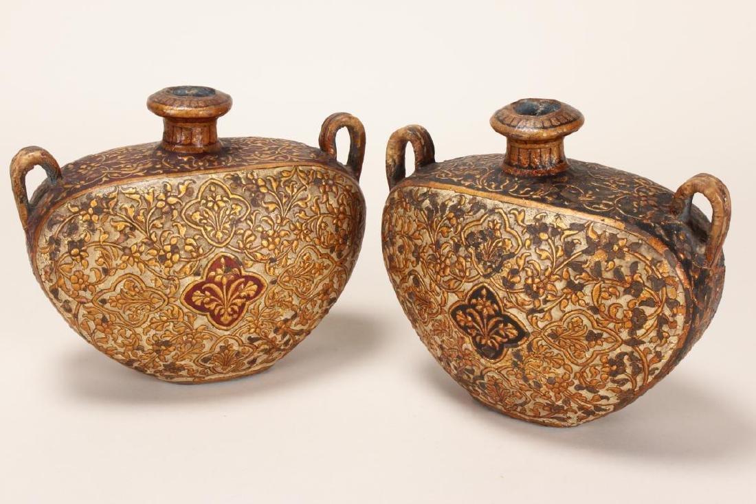 Pair of North India Bikaneer Twin Handled Flasks,