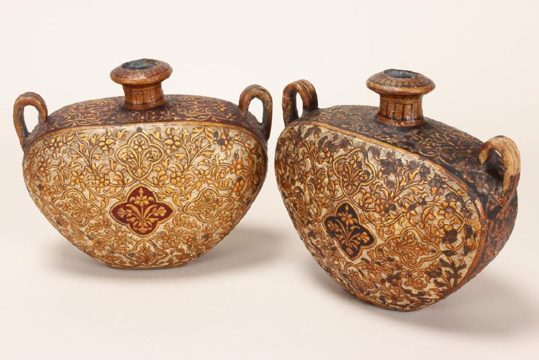 Pair of North India Bikaneer Twin Handled Flasks, - 4