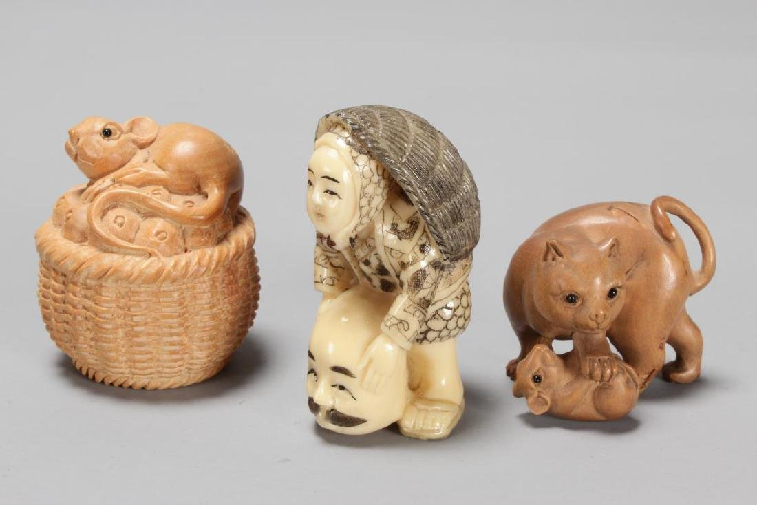Three Carved Netsuke, - 2