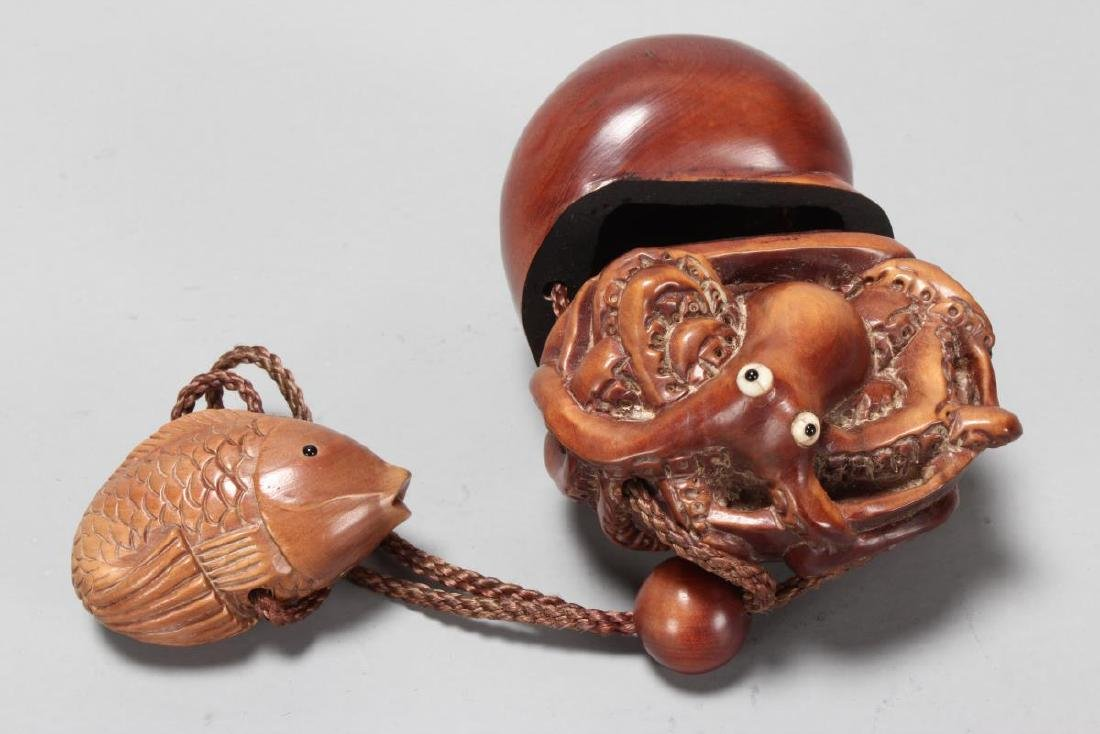 Japanese Carved Wooden Inro,