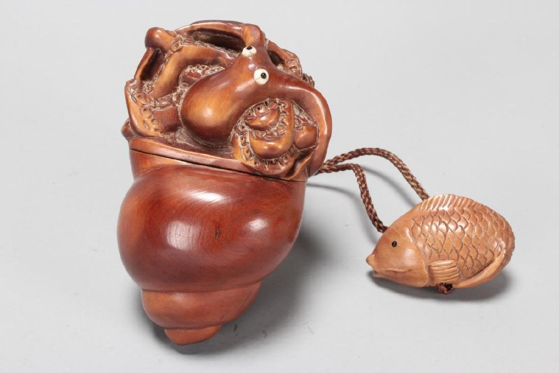 Japanese Carved Wooden Inro, - 2