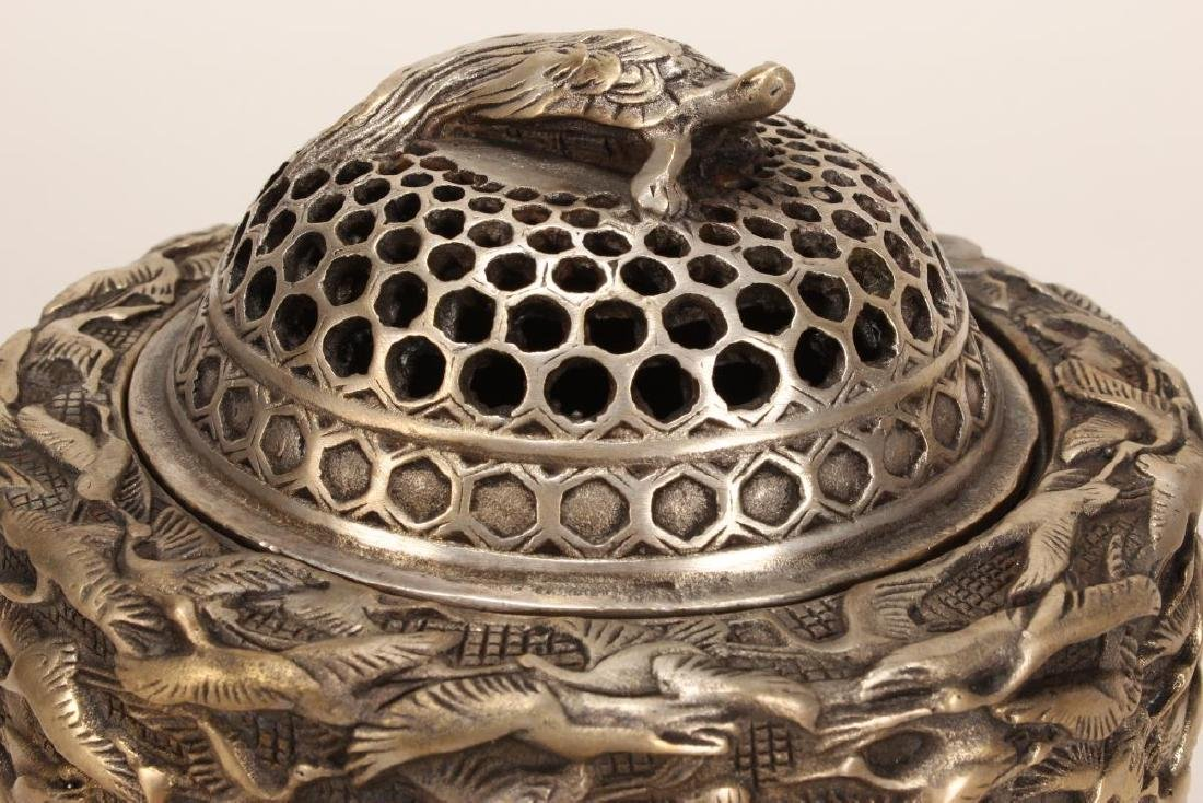 Chinese Silvered Censer and Cover, - 3