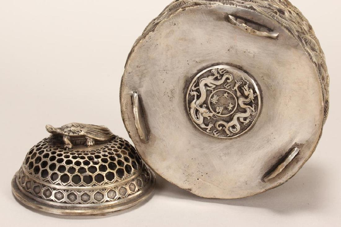 Chinese Silvered Censer and Cover, - 4