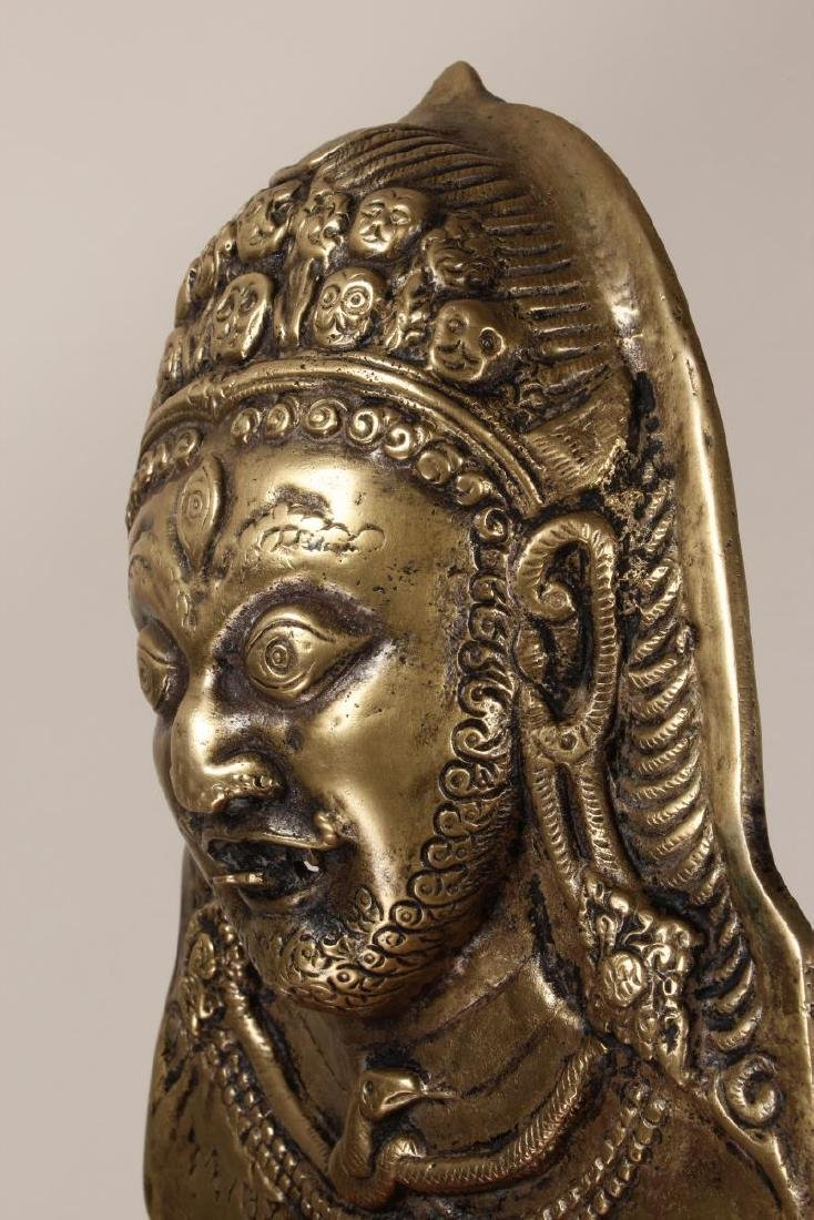 Cast Bronze Nepalese Mask of The God Bhairava, - 5