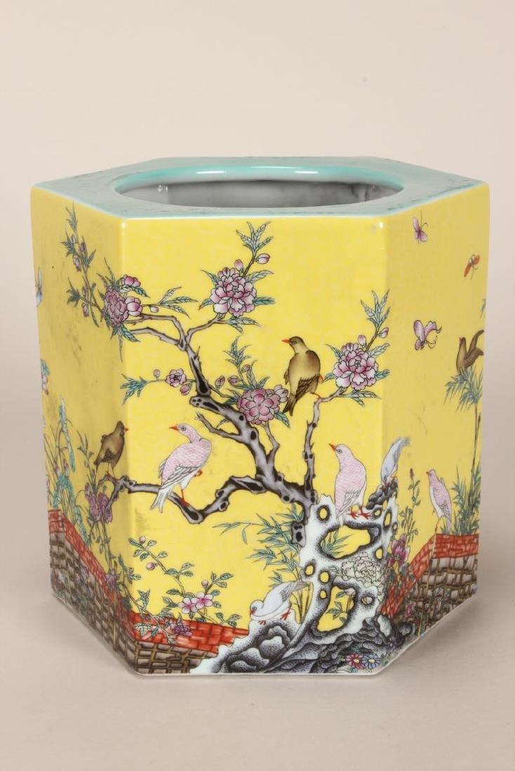 Chinese Famille Jaune Porcelain Brush Pot,