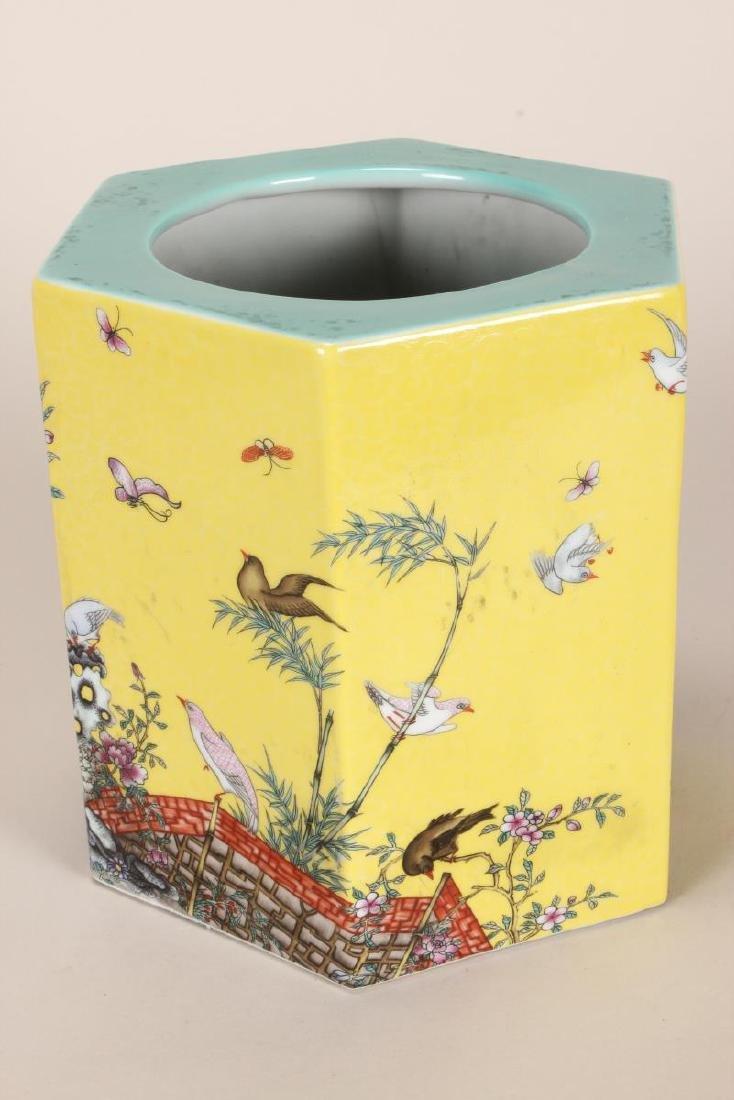 Chinese Famille Jaune Porcelain Brush Pot, - 2