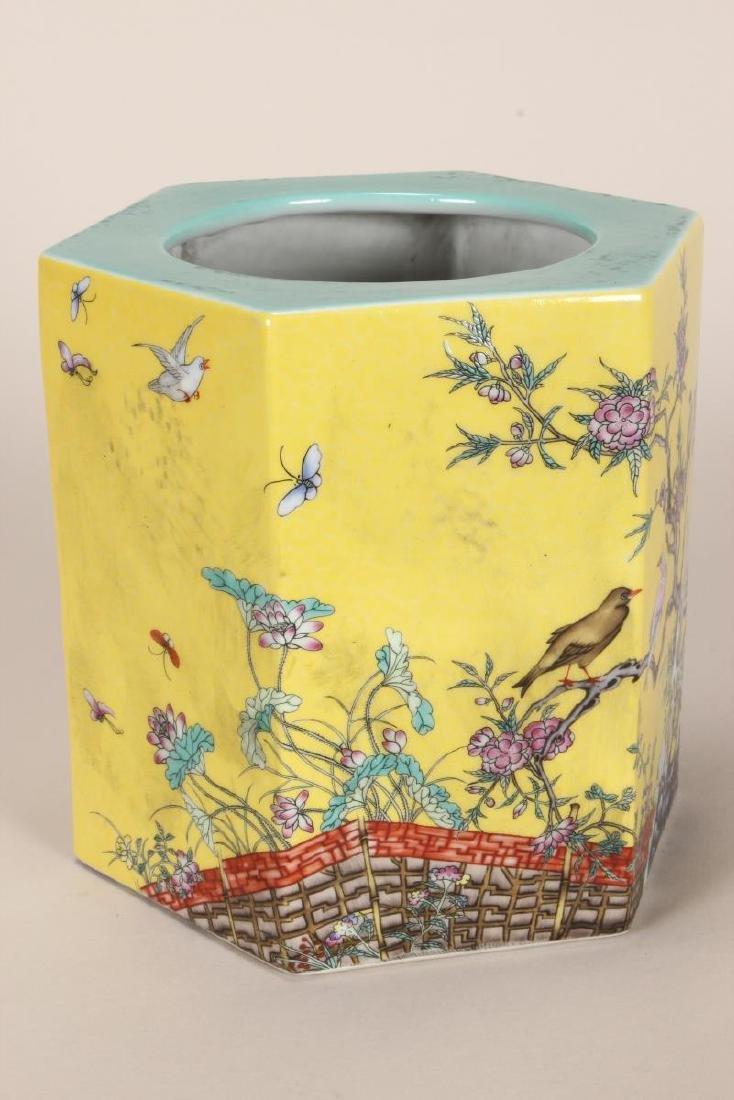 Chinese Famille Jaune Porcelain Brush Pot, - 3