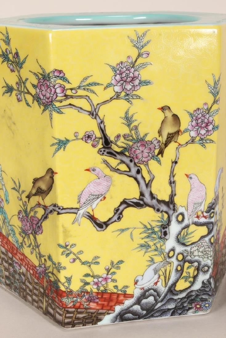 Chinese Famille Jaune Porcelain Brush Pot, - 5