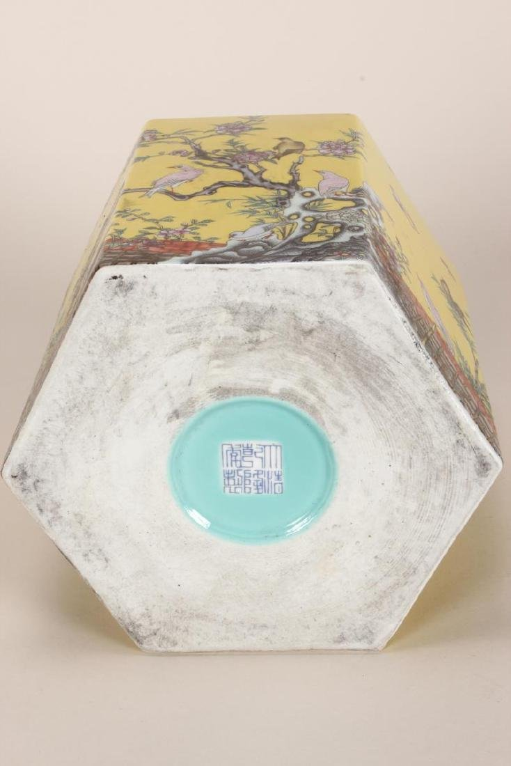 Chinese Famille Jaune Porcelain Brush Pot, - 7