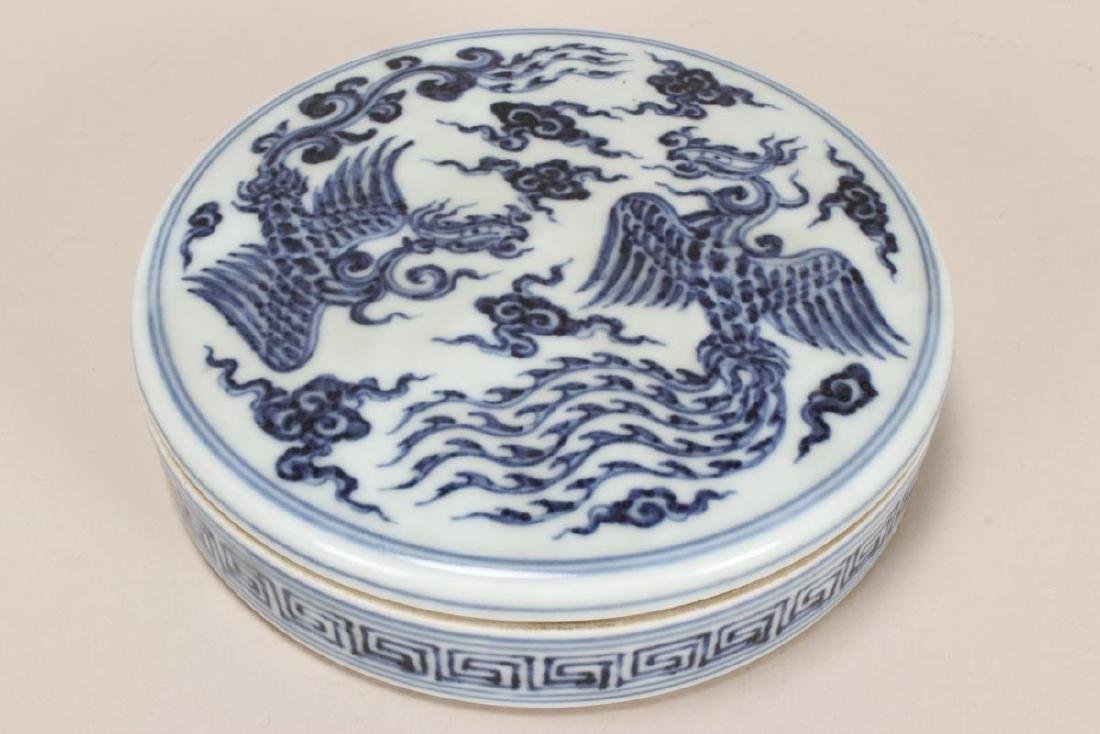 Chinese Blue and White Porcelain Ink Pot,