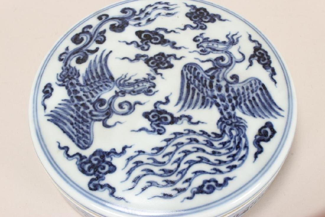 Chinese Blue and White Porcelain Ink Pot, - 2