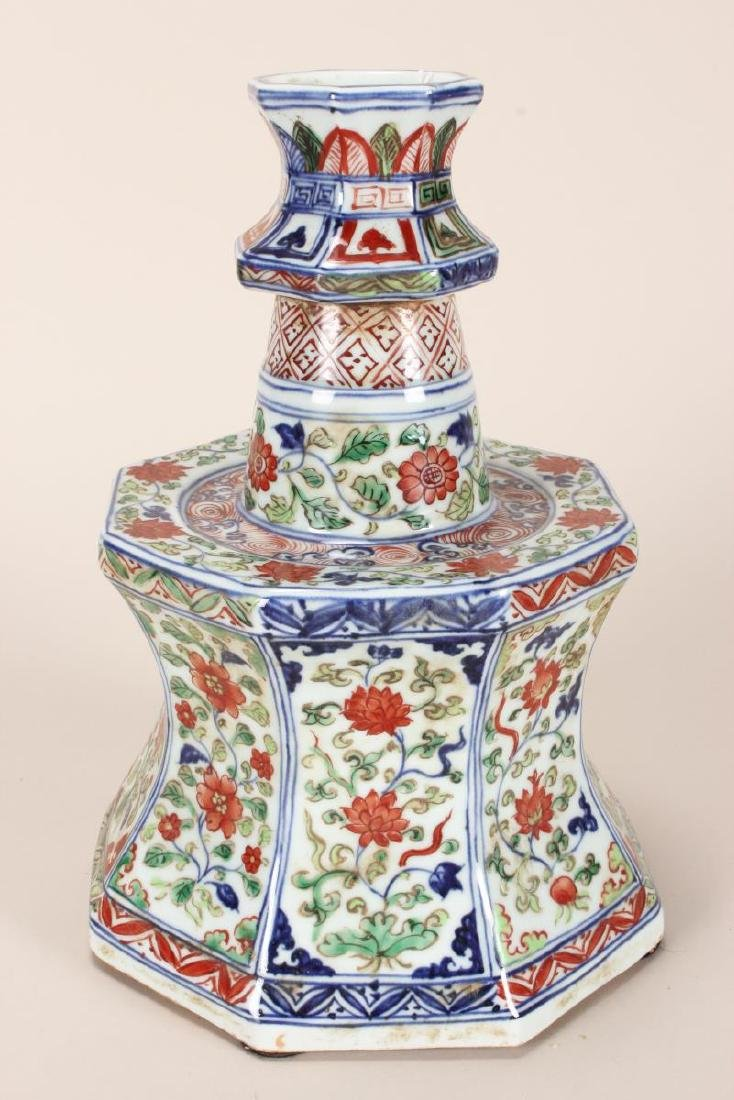 Pair of Chinese Wucai Porcelain Candle Stands, - 4