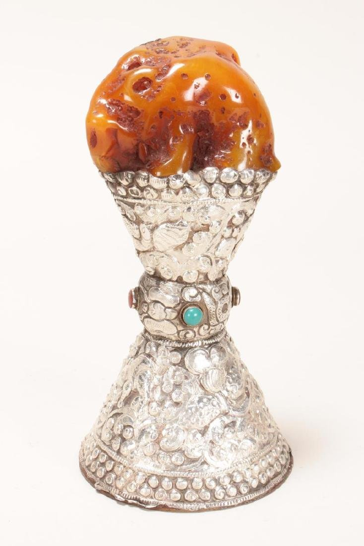 Indian Amber, Silver and Turquoise Altar Piece,
