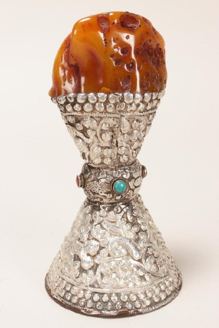 Indian Amber, Silver and Turquoise Altar Piece, - 3