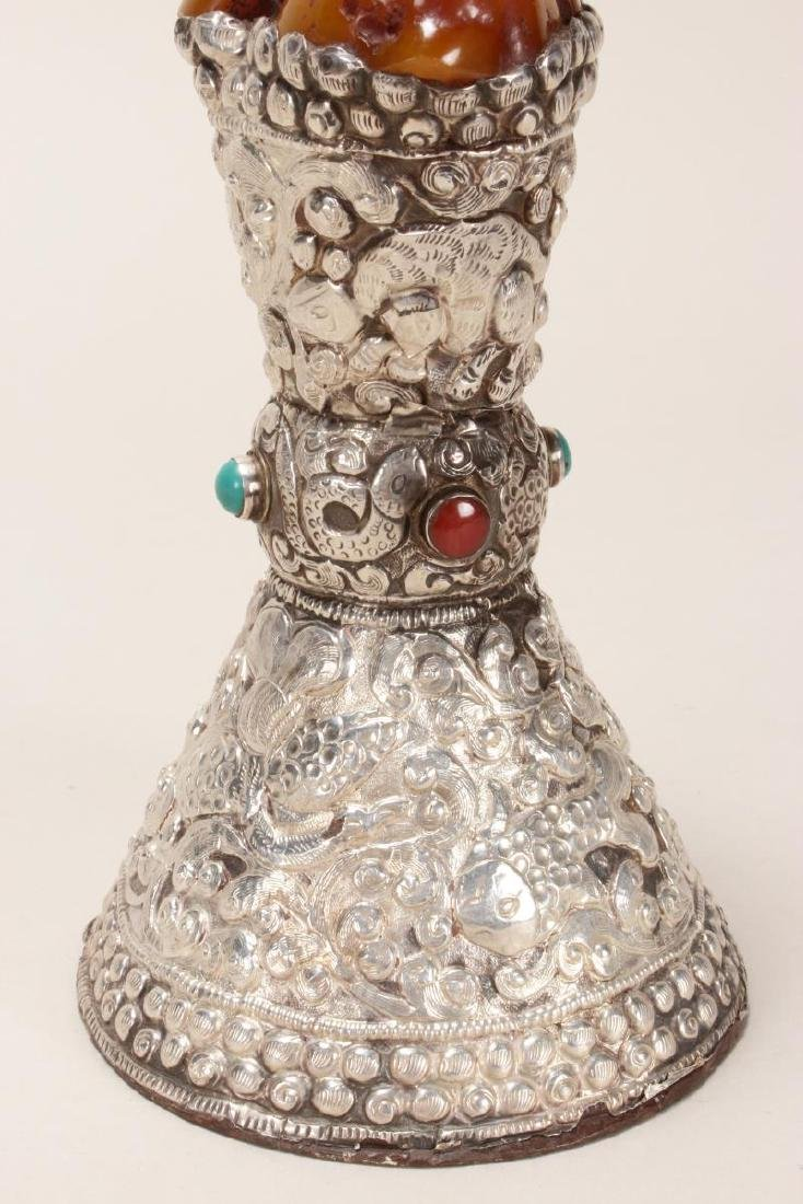 Indian Amber, Silver and Turquoise Altar Piece, - 5
