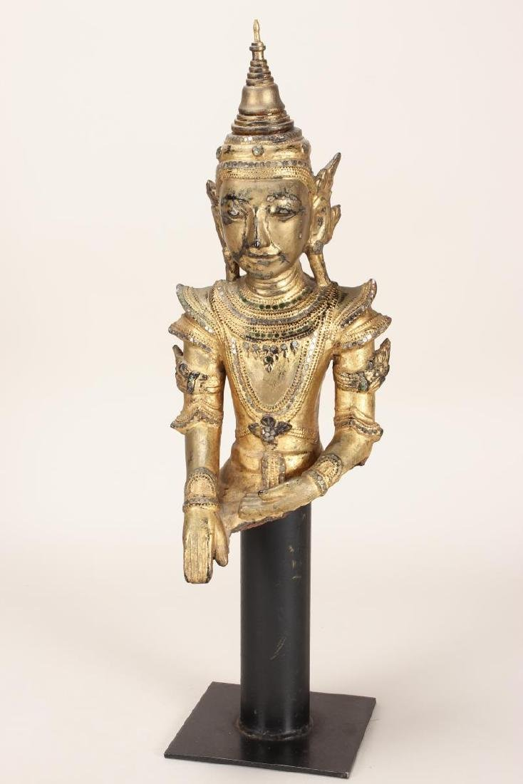 Shan Style Lacquered Torso and Head on Stand,