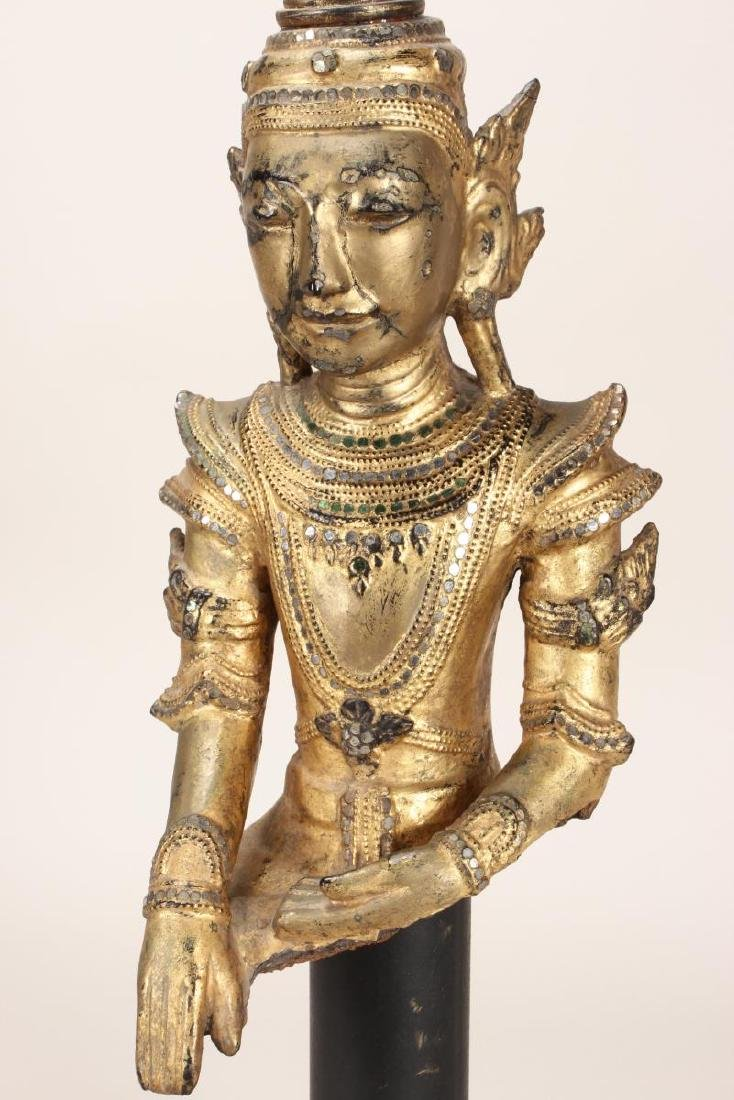 Shan Style Lacquered Torso and Head on Stand, - 2