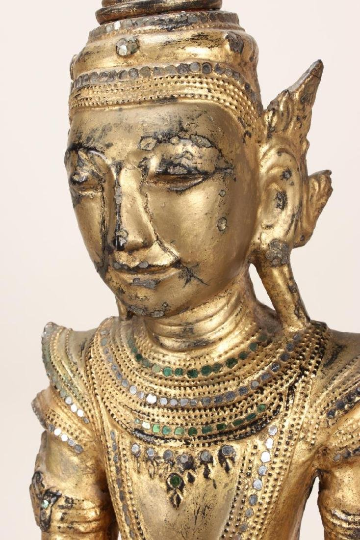 Shan Style Lacquered Torso and Head on Stand, - 3
