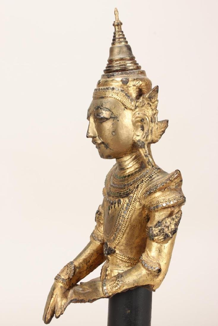 Shan Style Lacquered Torso and Head on Stand, - 4
