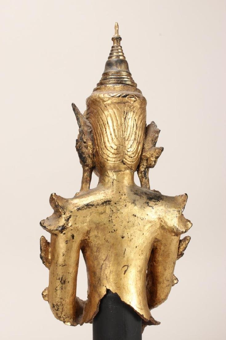 Shan Style Lacquered Torso and Head on Stand, - 5