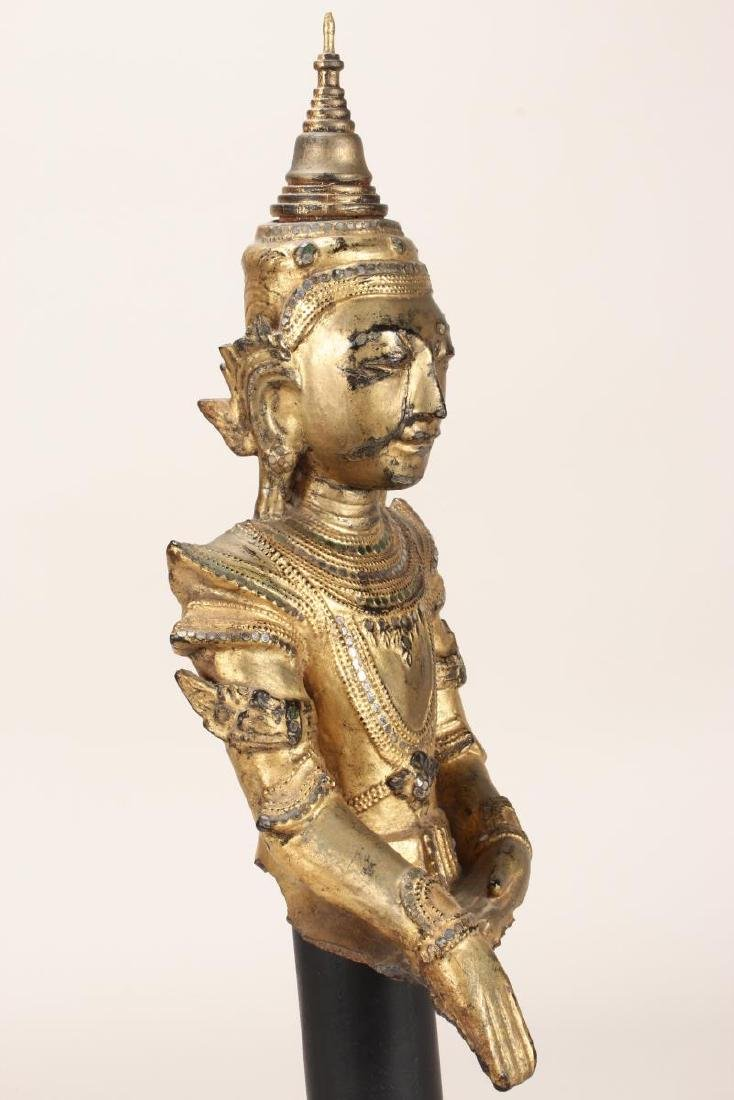 Shan Style Lacquered Torso and Head on Stand, - 6