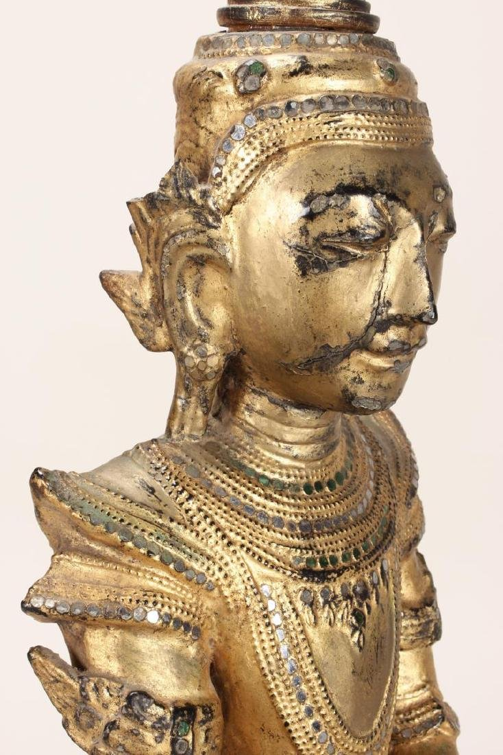 Shan Style Lacquered Torso and Head on Stand, - 7