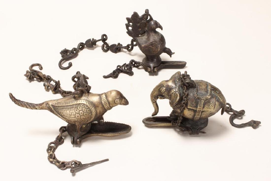 Three Indian Votive Bronze Oil Lamps,