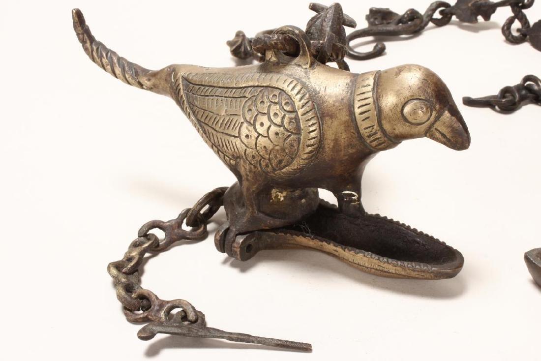 Three Indian Votive Bronze Oil Lamps, - 2