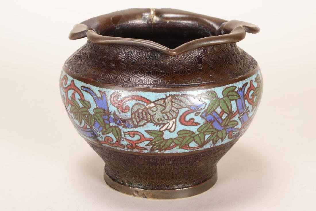 Chinese Bronze and Champleve Jardiniere, - 2