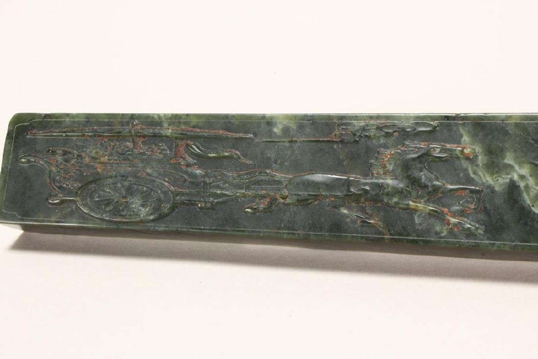 Wonderful Pair of Chinese Spinach Jade Scroll - 2