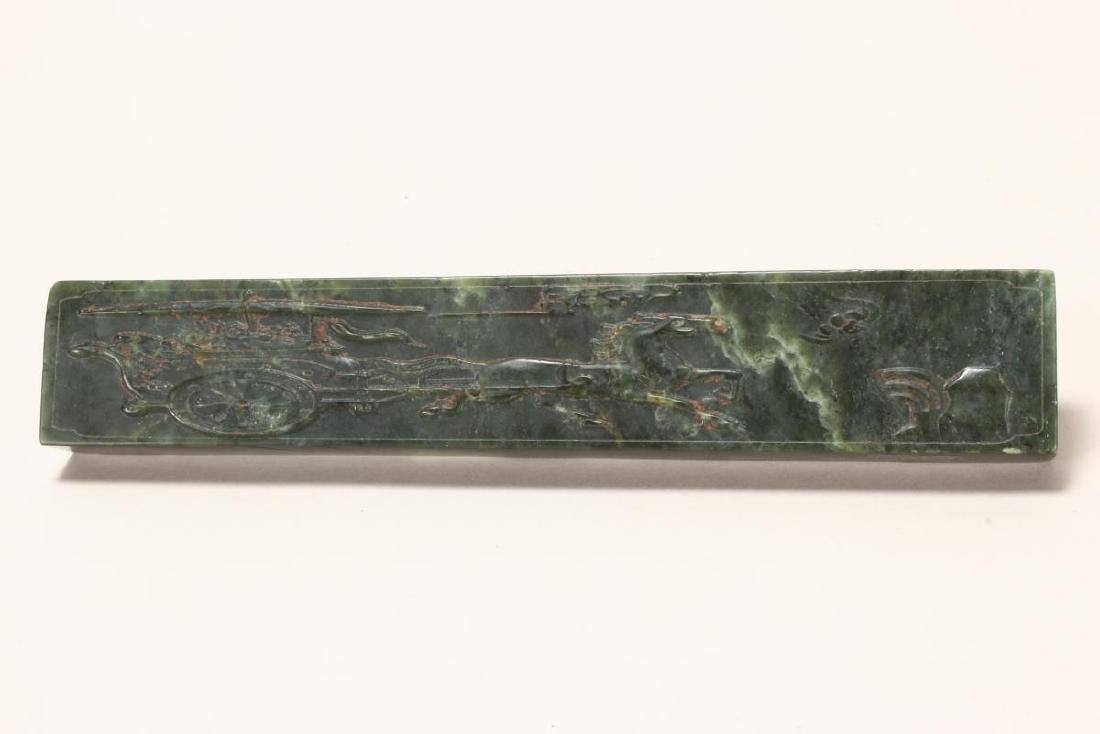 Wonderful Pair of Chinese Spinach Jade Scroll - 3