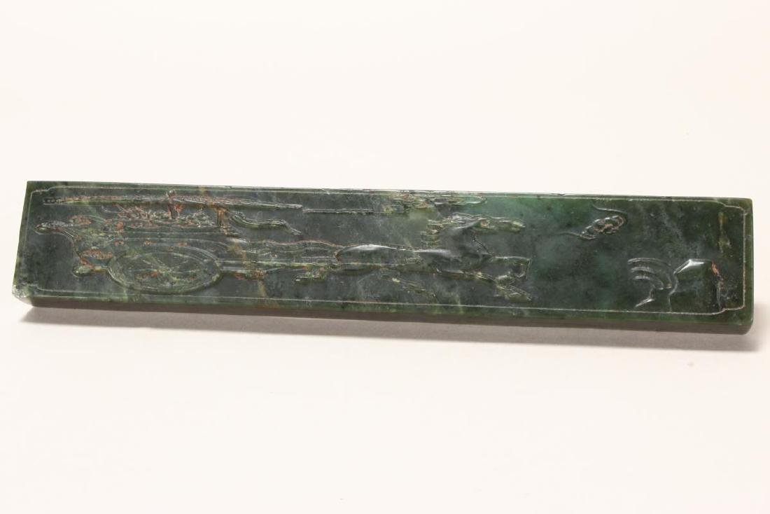 Wonderful Pair of Chinese Spinach Jade Scroll - 4