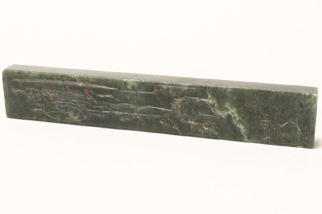 Wonderful Pair of Chinese Spinach Jade Scroll - 7