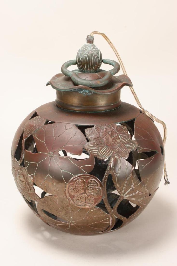 Japanese Bronze Hanging Lantern,