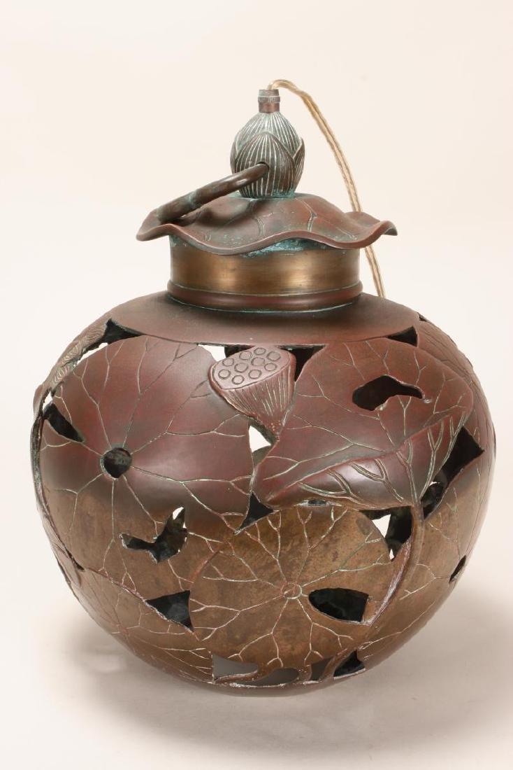 Japanese Bronze Hanging Lantern, - 2