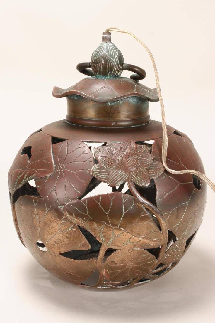 Japanese Bronze Hanging Lantern, - 3