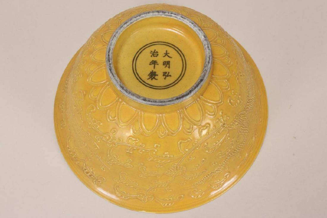 Good Chinese Deep Porcelain Imperial Yellow Bowl, - 5