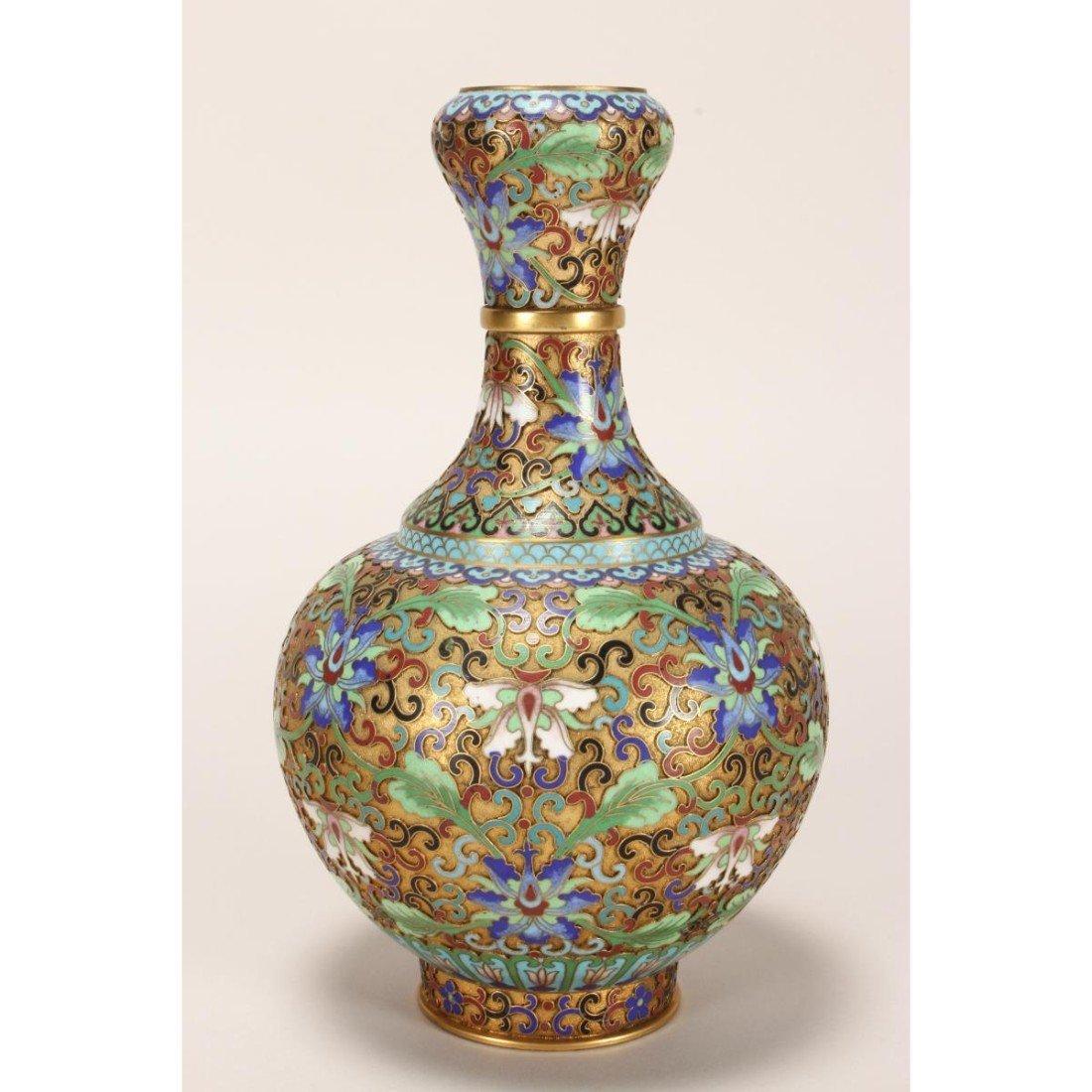 Japanese Cloisonne Garlic Head Vase, - 2