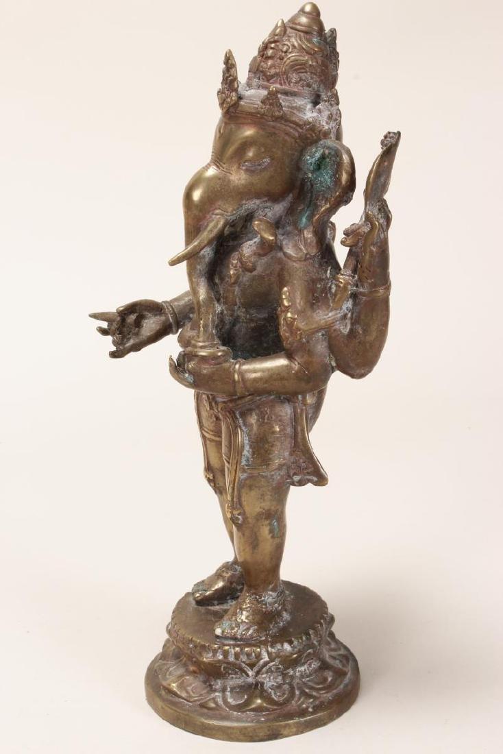 Indian Bronze Figure of Ganesha, - 4