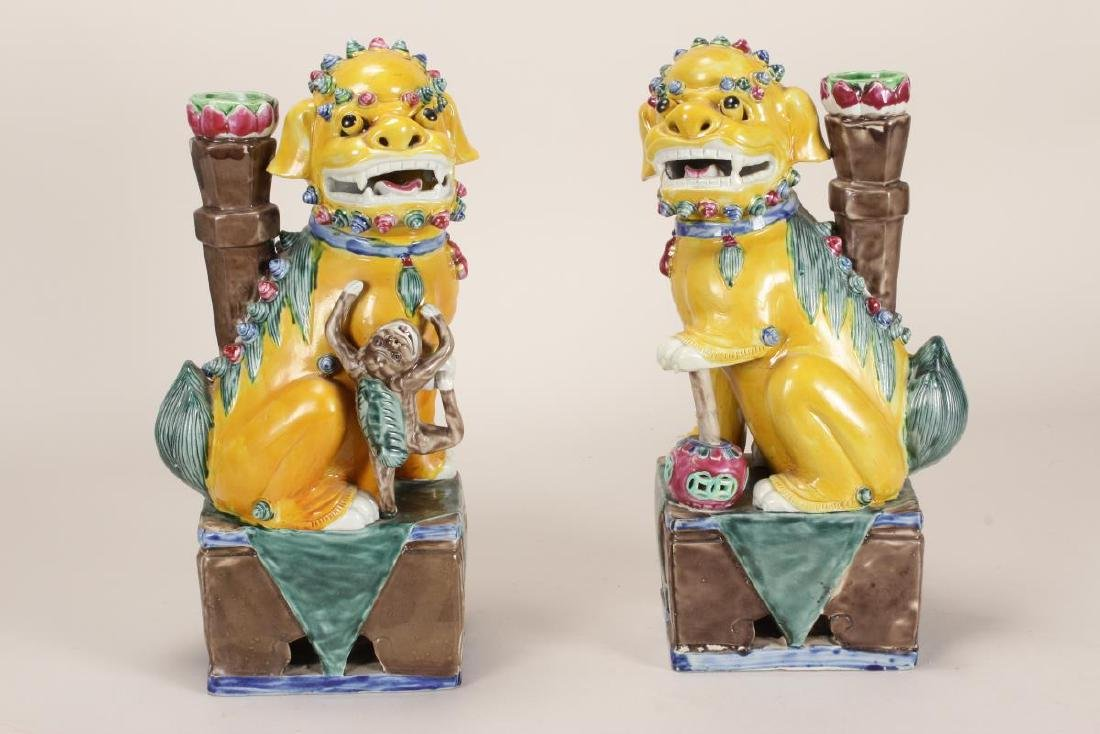 Pair of Chinese Porcelain Incense Holders,