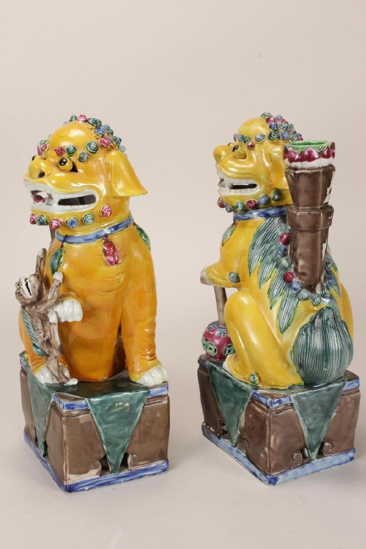 Pair of Chinese Porcelain Incense Holders, - 5