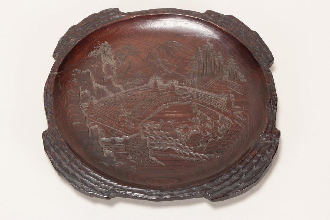 Japanese Carved Wooden Plate,